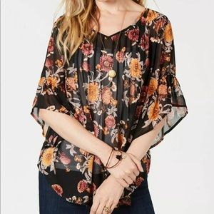 Style & Co Autumn Allure Sheer Blouse
